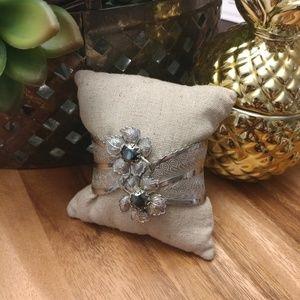 Silver tone & gray stone hinged cuff bracelet